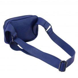 イタリア製シボ加工レザーのウェストポーチ TL Bag、ブルー、詳細2