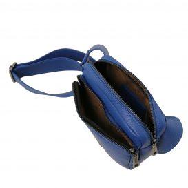 イタリア製シボ加工レザーのウェストポーチ TL Bag、ブルー、詳細3