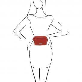 イタリア製シボ加工レザーのウェストポーチ TL Bag、レッド、詳細4