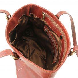 イタリア製ベジタブルタンニンレザーのトートバッグ ANNALISA、ブラウン、茶色、詳細2