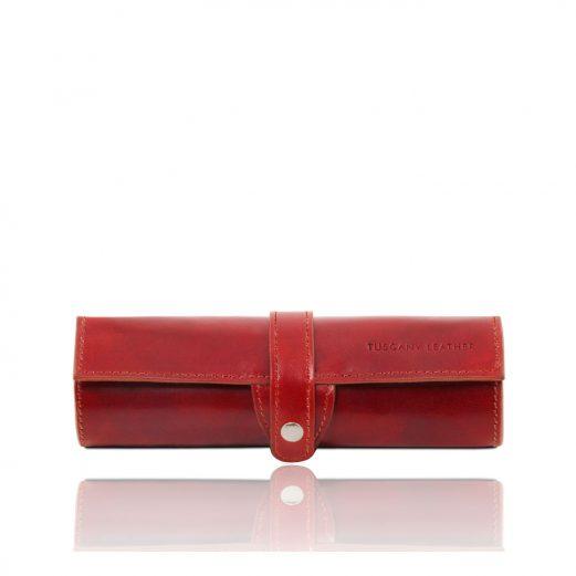 イタリア製本革ペンケース、レッド