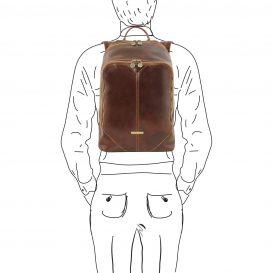 イタリア製ベジタブルタンニンレザーのリュック MUMBAI、ブラウン、茶色、詳細6