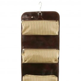 イタリア製壁にかけられるトラベルケース、茶色、ブラウン、詳細1