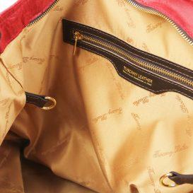 イタリア製ヴィンテージ調レザーの2WAYトートバッグ ANNIE、レッド、詳細8