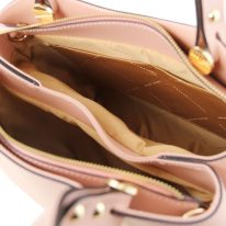 イタリア製スムースレザーの2WAYハンドバッグANNA、ピンク、詳細3