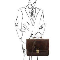 イタリア製ベジタブルタンニンレザーのビジネスバッグ TORINO、ダークブラウン、詳細