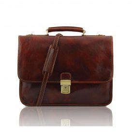 イタリア製ベジタブルタンニンレザーのビジネスバッグ TORINO、ブラウン