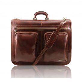 イタリア製ベジタブルタンニンレザーの旅行/衣装バッグ TAHITI、ブラウン