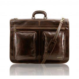 イタリア製ベジタブルタンニンレザーの旅行/衣装バッグ TAHITI、ダークブラウン
