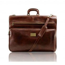 イタリア製ベジタブルタンニンレザーの旅行/衣装バッグ PAPEETE、ブラウン