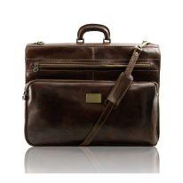 イタリア製ベジタブルタンニンレザーの旅行/衣装バッグ PAPEETE、ダークブラウン