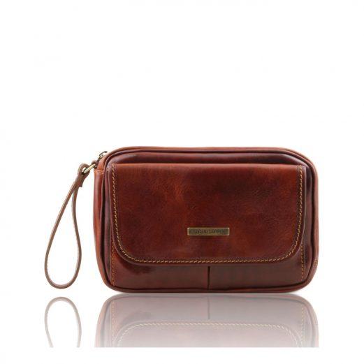 イタリア製ベジタブルタンニンレザーのセカンドバッグ IVAN、ブラウン