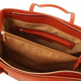 イタリア製サフィアーノレザーのタッセルつきトートバッグTL Bag、ブランデー、詳細2