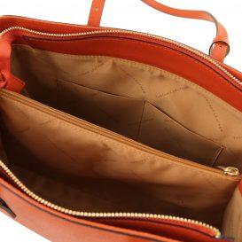 イタリア製サフィアーノレザーのタッセルつきトートバッグTL Bag、ブランデー、詳細3