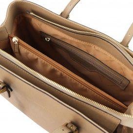 イタリア製サフィアーノレザーのタッセルつきトートバッグTL Bag、キャラメル、詳細2