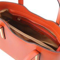 イタリア製ルーガ・カーフレザーの2WAYトートバッグ(小)OLIMPIA、ブランデー、詳細2