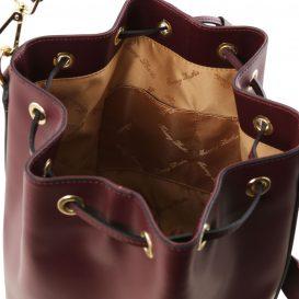 イタリア製スムースレザーの2WAY巾着バッグ VITTORIA、ボルドー、詳細3