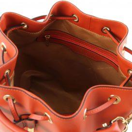 イタリア製ルーガ・カーフレザーの2WAY巾着バッグ VITTORIA、ブランデー、詳細2