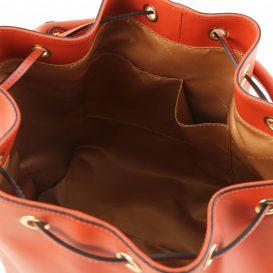 イタリア製ルーガ・カーフレザーの2WAY巾着バッグ VITTORIA、ブランデー、詳細3