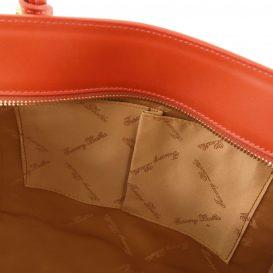 イタリア製ルーガ・カーフレザー2WAYハンドバッグ、ブランデー、詳細3
