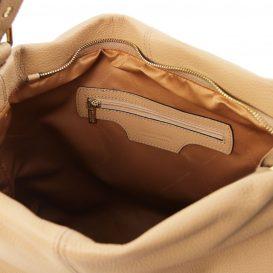 イタリア製シボレザーのワンハンドル・ショルダーバッグ TL BAG、シャンパーニュ、詳細2