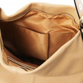 イタリア製シボレザーのワンハンドル・ショルダーバッグ TL BAG、シャンパーニュ、詳細3