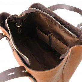 イタリア製シボ型押しレザーのバイカラートートバッグ TL BAG、コニャック、詳細4