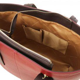 イタリア製シボ加工レザーのバイカラーショルダーバッグ TL BAG、レッド、詳細4