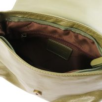 イタリア製ソフトレザーのタッセルつきショルダーバッグ(Sサイズ) TL BAG、オリーブグリーン、詳細2
