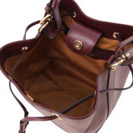 イタリア製サフィアーノ・カーフレザーの巾着バッグ MINERVA、ボルドー、詳細3