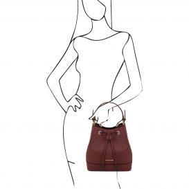イタリア製サフィアーノ・カーフレザーの巾着バッグ MINERVA、ボルドー、詳細4