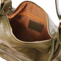 イタリア製柔らかいソヴァージュレザーの2WAYリュック&ショルダーTL BAG、オリーブグリーン、詳細1