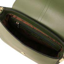 イタリア製スムースレザー2WAYバッグ NAUSICA、オリーブグリーン、詳細3