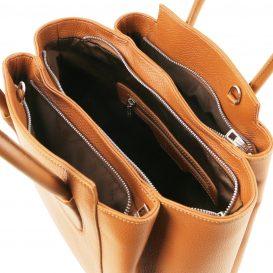 イタリア製シボレザーの2WAYハンドバッグ TULIPAN、コニャック、詳細2