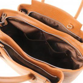 イタリア製シボレザーの2WAYハンドバッグ TULIPAN、コニャック、詳細3