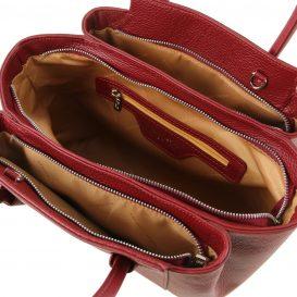 イタリア製シボレザーの2WAYハンドバッグ TULIPAN、レッド、詳細2