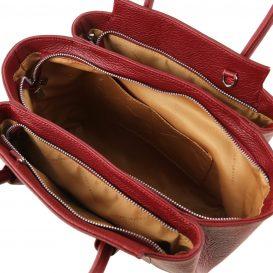 イタリア製シボレザーの2WAYハンドバッグ TULIPAN、レッド、詳細3