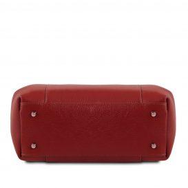 イタリア製シボレザーの2WAYハンドバッグ TULIPAN、レッド、詳細4