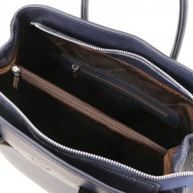 イタリア製シボレザーの2WAYハンドバッグ CAMELIA、ダークブルー、詳細2
