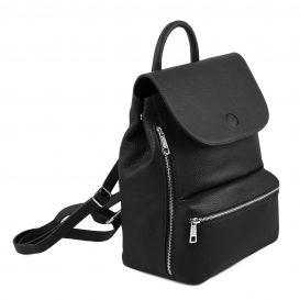 イタリア製シボレザーのリュックバッグ MARGHERITA、ブラック、詳細1