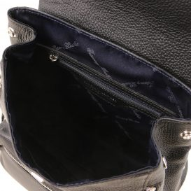 イタリア製シボレザーのリュックバッグ MARGHERITA、ブラック、詳細3