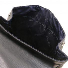 イタリア製シボレザーのリュックバッグ MARGHERITA、ブラック、詳細4