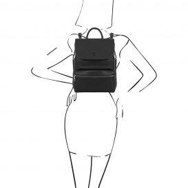 イタリア製シボレザーのリュックバッグ MARGHERITA、ブラック、詳細5