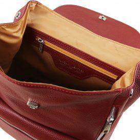 イタリア製シボレザーのリュックバッグ MARGHERITA、レッド、詳細3