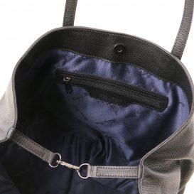 イタリア製シボ型押しレザーのスタッズつきトートバッグ TL BAG、ブラック、詳細3