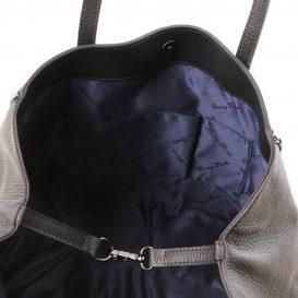 イタリア製シボ型押しレザーのスタッズつきトートバッグ TL BAG、ブラック、詳細4