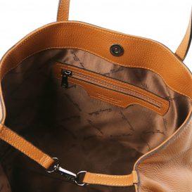 イタリア製シボ型押しレザーのスタッズつきトートバッグ TL BAG、コニャック、詳細3