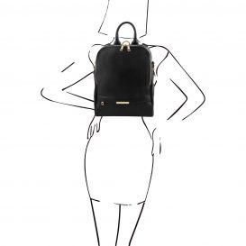 イタリア製シボ加工ソフト・カーフレザーのリュック TL Bag、ブラック、詳細3