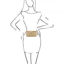 イタリア製キルティング・ウェストバッグ TL Bag、ベージュ、詳細4