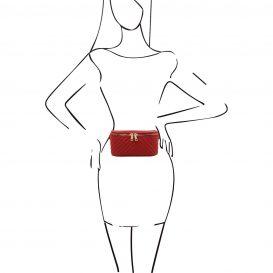 イタリア製ソフトレザーのキルティング模様ウェストバッグ TL Bag、レッド、詳細4